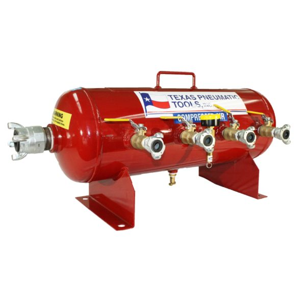 TX-2AMF Front View of Fifteen Gallon, 200 PSI ASME Certified Air ManifoldTop View of Air Manifold with 2.5 Gallon, ASME Tank and Industrial Quick Connect Fittings | Texas Pneumatic Tools, Inc.
