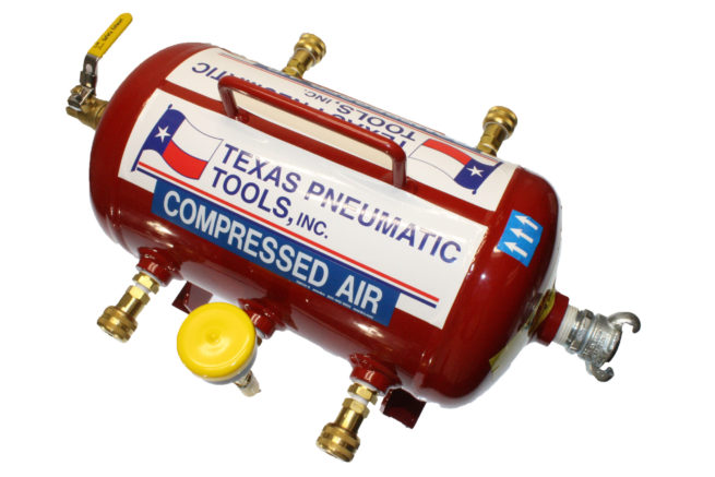 TX-3AMF-QC-1/4 Top View of Air Manifold with 2.5 Gallon, ASME Tank and Industrial Quick Connect Fittings   Texas Pneumatic Tools, Inc.