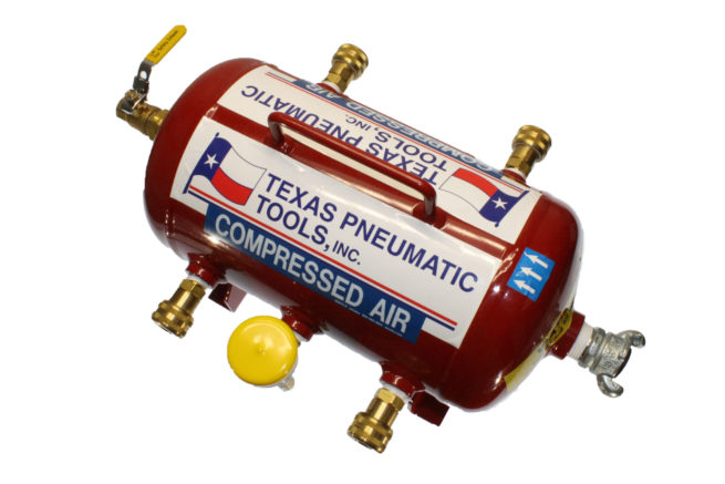 TX-3AMF-QC-3/8 Top View of Air Manifold with 2.5 Gallon, ASME Tank and Industrial Quick Connect Fittings   Texas Pneumatic Tools, Inc.
