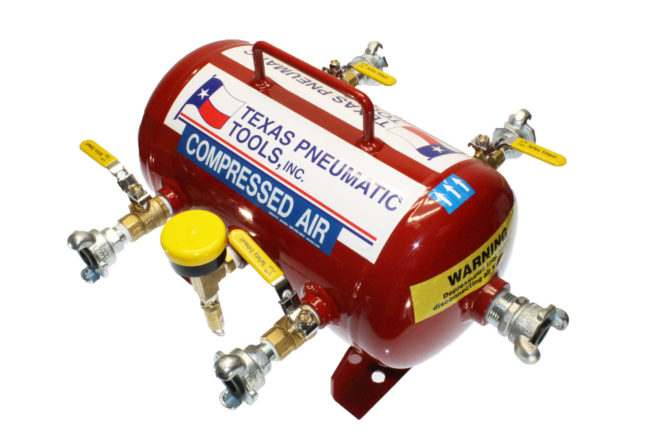 TX-3AMF Top View of Air Manifold with 2.5 Gallon, ASME Tank and Industrial Quick Connect Fittings | Texas Pneumatic Tools, Inc.